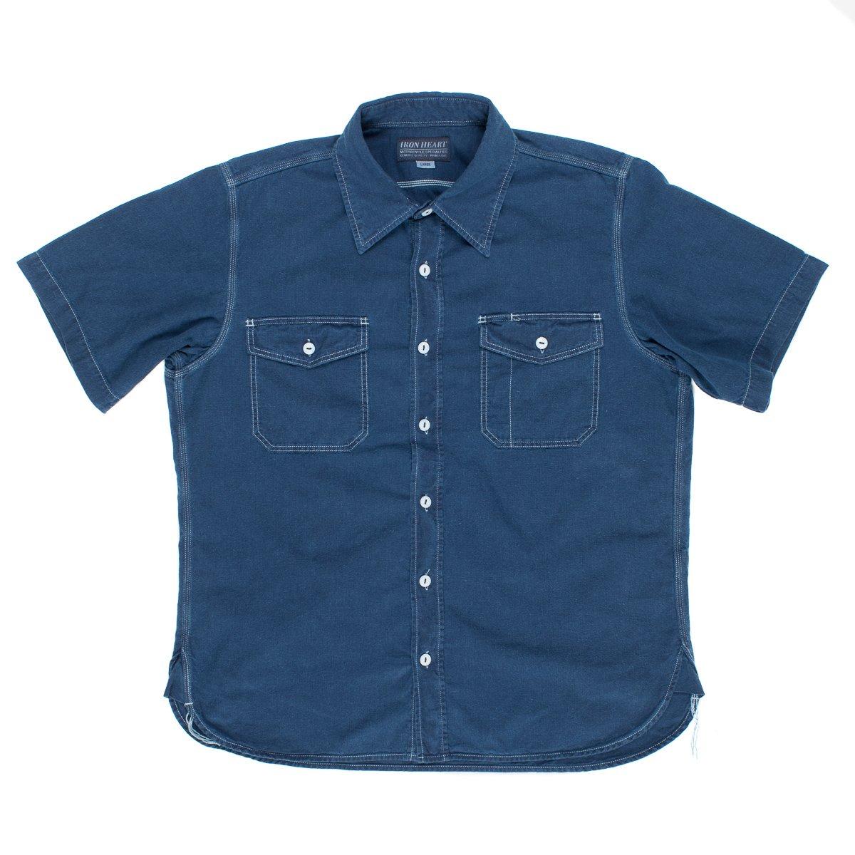 c4c6043b71 Indigo Overdyed US Navy Style 5.5oz Selvedge Short Sleeved Chambray Shirt