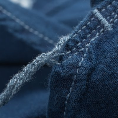Indigo Overdyed US Navy Style 5.5oz Selvedge Short Sleeved Chambray Shirt
