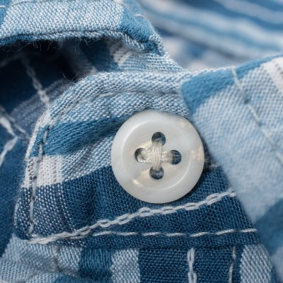 Blue Dobby Check Cotton Western Shirt