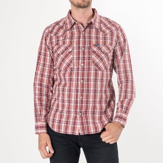 Brick Red Dobby Check Cotton Western Shirt