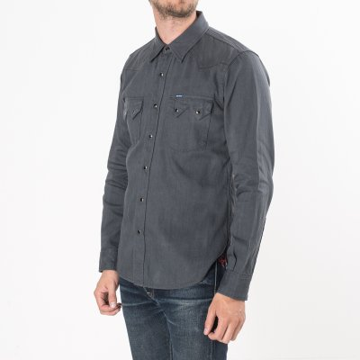Grey 8.5oz Selvedge Denim Sawtooth Western Shirt