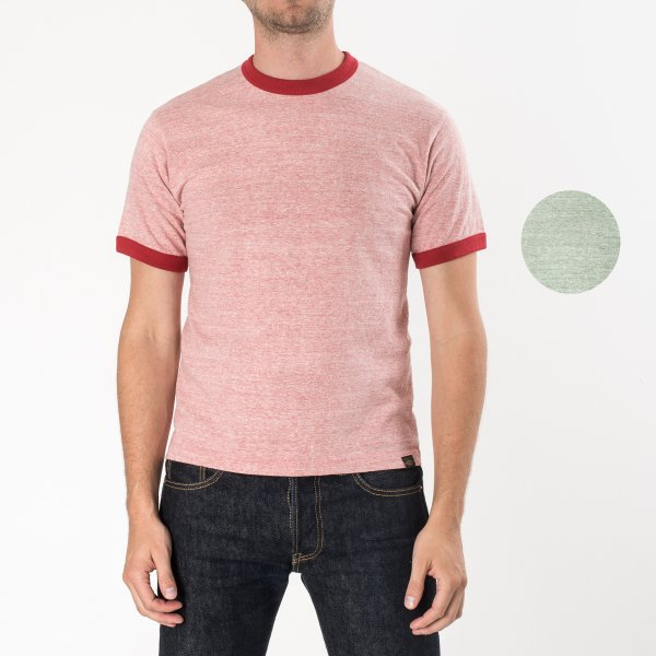 6oz Loopwheel Ringer T-Shirts in Green and Red