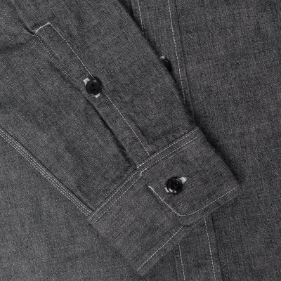 Black 10oz Selvedge Chambray Work Shirt