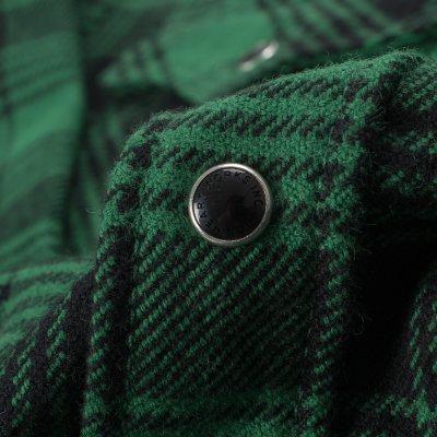 Green/Black Ultra Heavy Flannel Glen Check Western Shirt