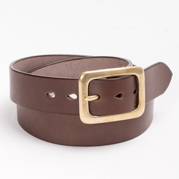 "Heavy Duty ""Tochigi"" Leather Belt with Brass Garrison Buckle - Black, Brown or Natural"