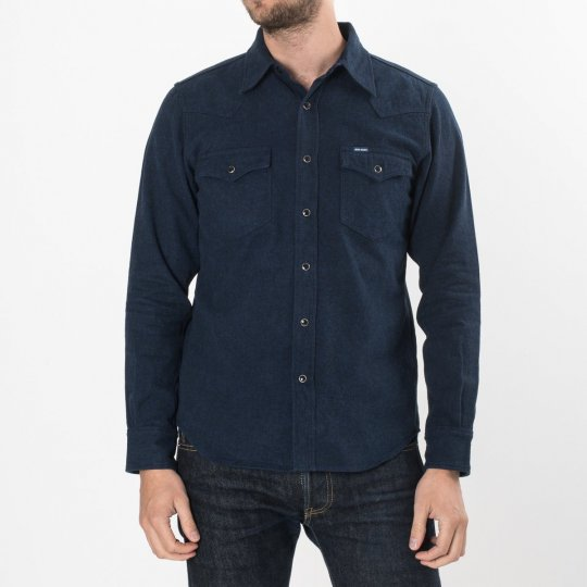 Navy Cotton Herringbone Western Shirt