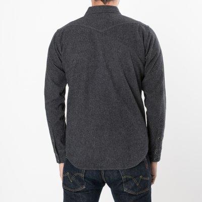 Grey Cotton Herringbone Western Shirt