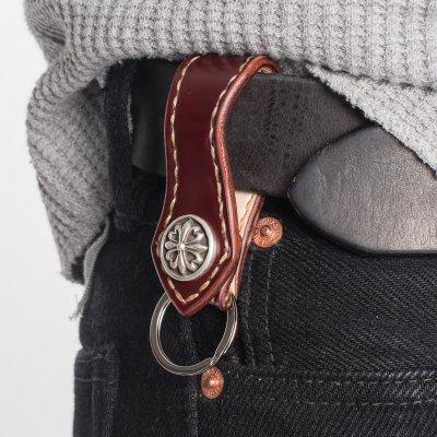 Shell Cordovan Belt Clip w/Silver Concho - Oxblood