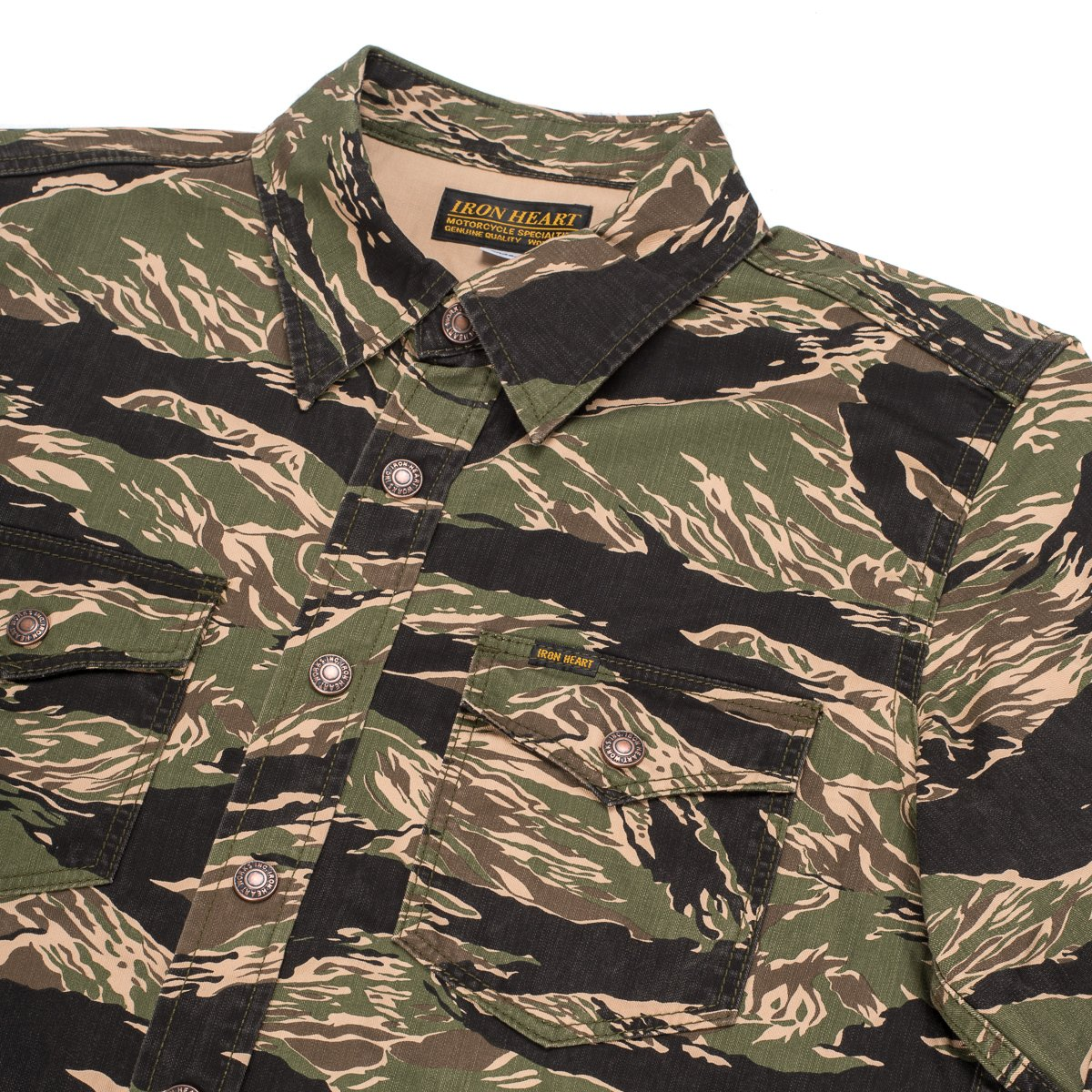 1a3afbe4a470b IHSH-186-GRN | Green Tiger Stripe Camouflage CPO Shirt. Made in Japan.