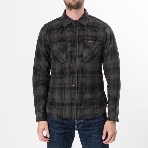 Grey/Black Ultra Heavy Flannel Glen Check Work Shirt