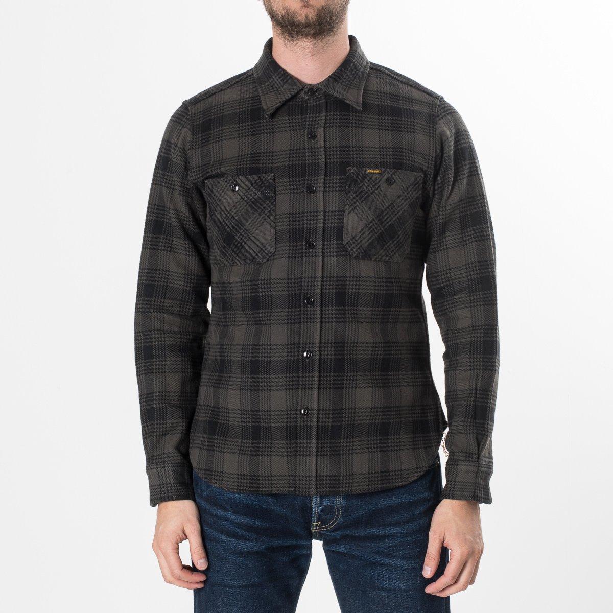 Ihsh 190 Gry Iron Heart Ultra Heavy Japanese Cotton Flannel Grey Glen Plaid Shirt Jacket Black Check Work