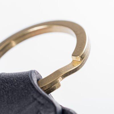 Black Buttero Leather Key Ring w/Embossed Iron Heart Logo