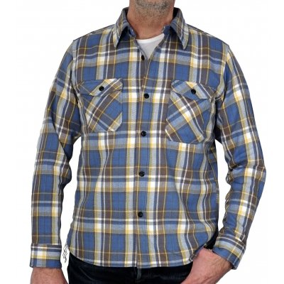 Medium Weight Madras Flannel Work Shirt - Brushed Reverse
