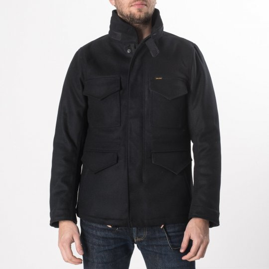 Black Selvedge Melton Wool M65 Field Jacket