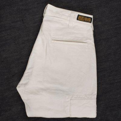 White 10.5oz Cotton Herringbone Cargo Pants