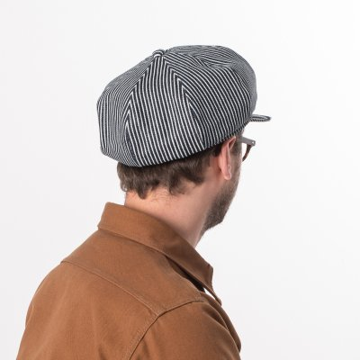 12oz Hickory Stripe Baker Boy Cap