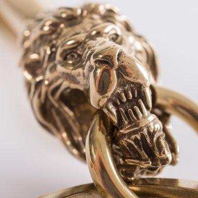 Lions Head Belt Hook Keychain in Brass
