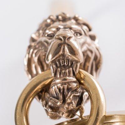 Lions Head Belt Hook Keychain in Bronze