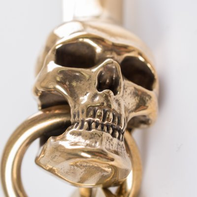 Skull Belt Hook Keychain in Brass