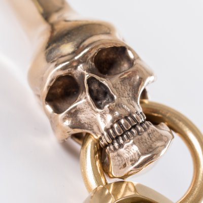 Skull Belt Hook Keychain in Bronze