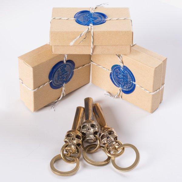 Skull Belt Hook Keychain in Brass