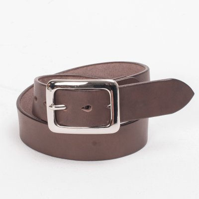 "Heavy Duty ""Tochigi"" Leather Belt with Nickel Plated Garrison Buckle - Natural"