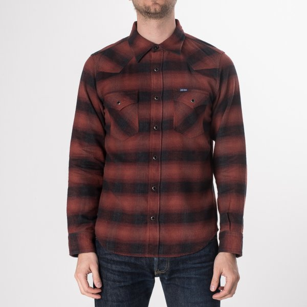 Red/Black 6oz Ombré Flannel Western Shirt