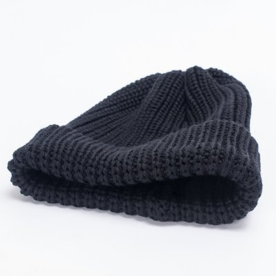 Black 100% Merino Wool Ribbed Beanie