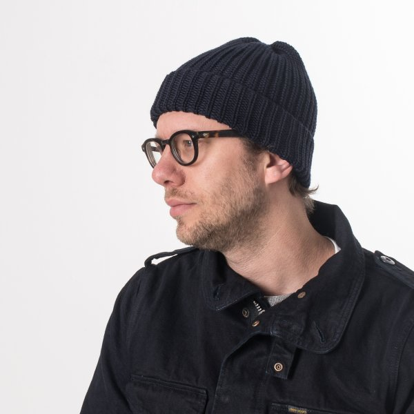 Navy 100% Merino Wool Ribbed Beanie