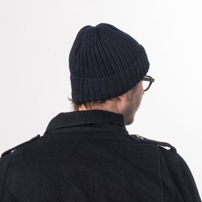 Navy 100% Merino Wool Ribbed Beanie