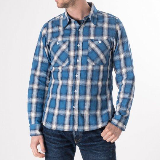 Indigo Check Flannel Work Shirt
