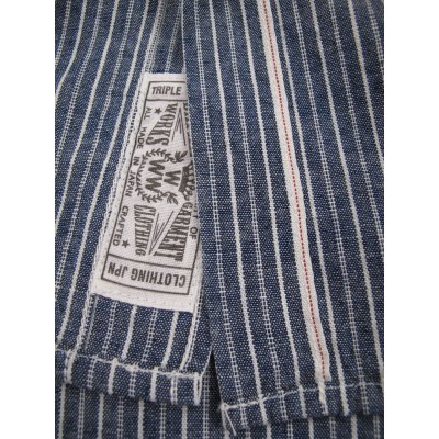 Indigo Dyed Striped Selvedge Chambray Work Shirt