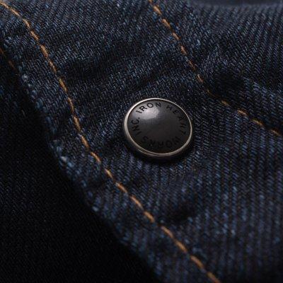 Linen Denim Sawtooth Western Shirt - Dark Indigo