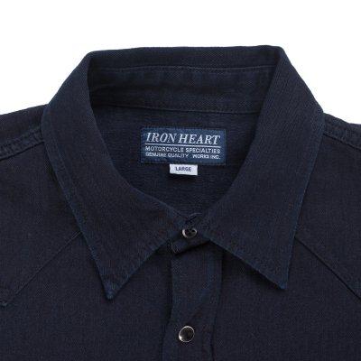 Cotton Linen Indigo Dyed Herringbone Western Shirt