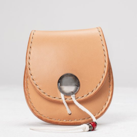 Folding Buttero Leather Coin Holder w/silver Concho - Tan