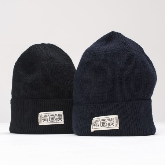 Navy or Black 100% Wool Ribbed Beanie
