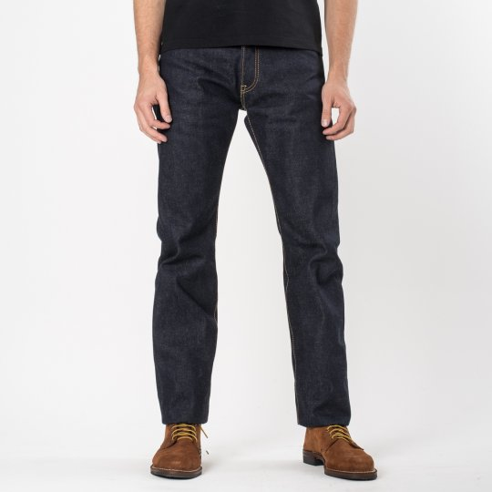 Indigo UHR 21/23oz Selvedge Denim Medium/High Rise Tapered Cut - YELLOW ARCS