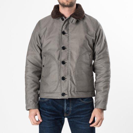 Alpaca Lined Whipcord N1 Deck Jacket - Grey
