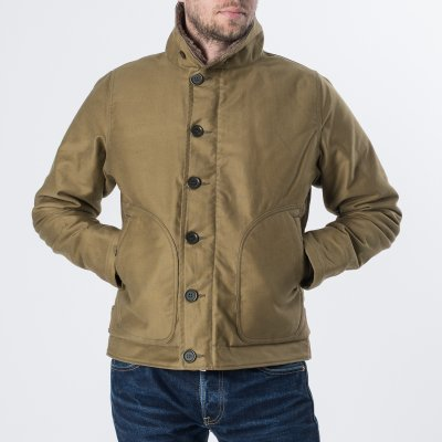 Alpaca Lined Whipcord N1 Deck Jacket - Black, Grey and Khaki