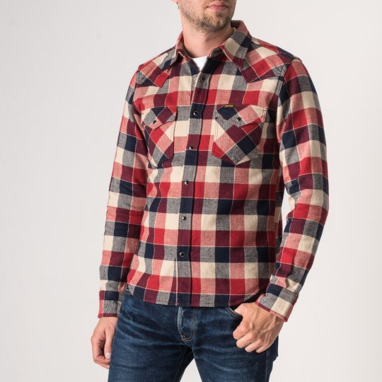Ultra Heavy Small Block Check Western Shirt in Red