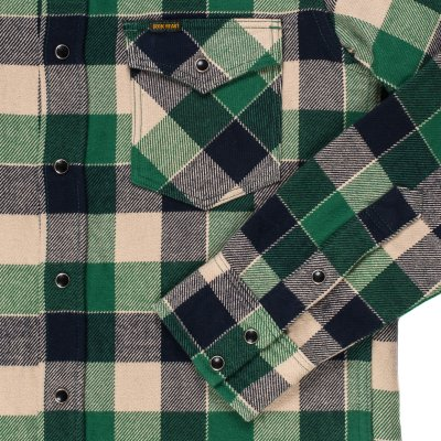 Ultra Heavy Small Block Check Western Shirt in Green
