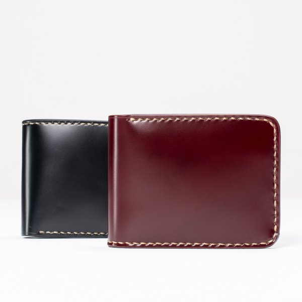 Small Shell Cordovan Wallet - Black & Oxblood