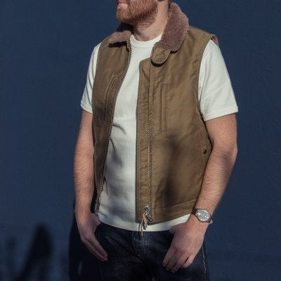 Khaki Alpaca Lined Whipcord Modified N1 Deck Vest