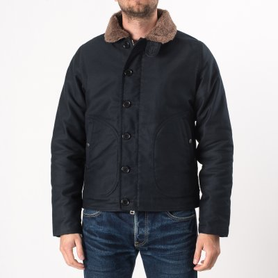Alpaca Lined Whipcord N1 Deck Jacket - Navy