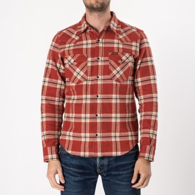 Ultra Heavy Vintage Check Western Shirt in Orange