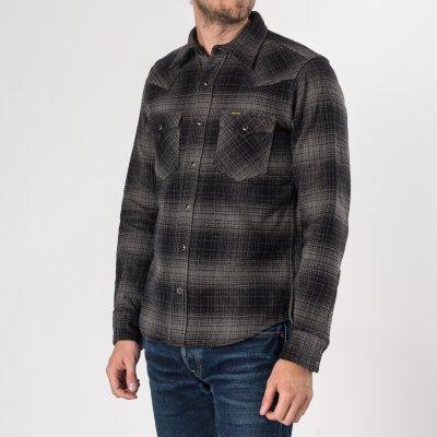 Grey/Black Ultra Heavy Flannel Ombré Check Western Shirt