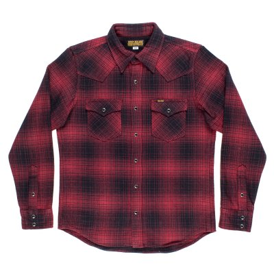 Red/Black Ultra Heavy Flannel Ombré Check Western Shirt