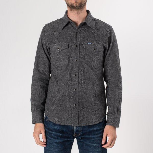 Charcoal Cotton Herringbone Western Shirt