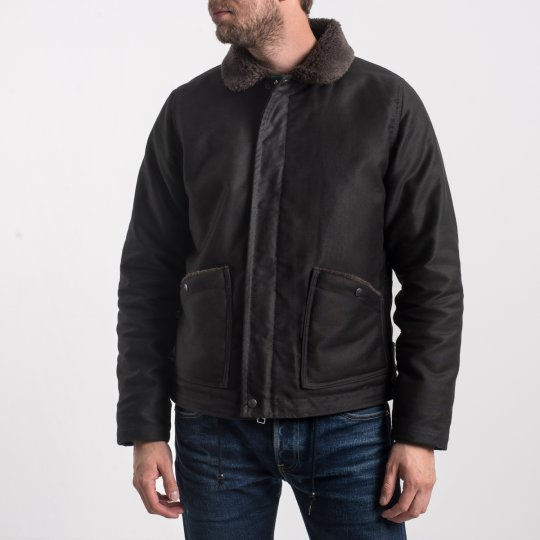 Alpaca Lined Whipcord B-2 Jacket - Black