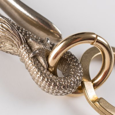 Mermaid Belt Hook Keychain in White Bronze by De Luxe Standard